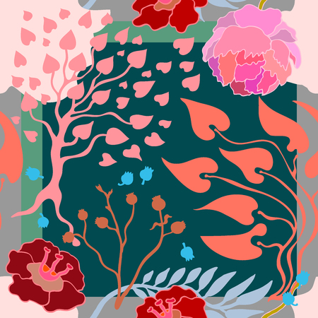 Abstract seamless vector pattern with hand drawn floral elements. 1950s-1960s motifs. Retro textile design collection. 矢量图像