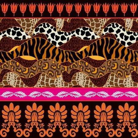 Zebra and leopard spots, palmette border and lotus flowers. Safari textile collection.