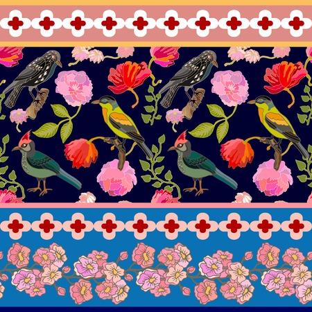 여름 꽃, 낙원 조류와 소나무 분기를 피. 빈티지 섬유 컬렉션입니다. 일러스트