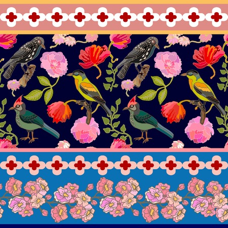 Blooming summer flowers, paradise birds and pine branches. Vintage textile collection.