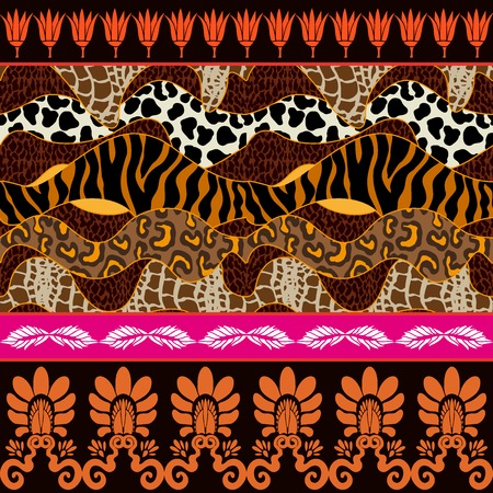 zebra skin: Zebra and leopard spots, palmette border and lotus flowers. Safari textile collection.