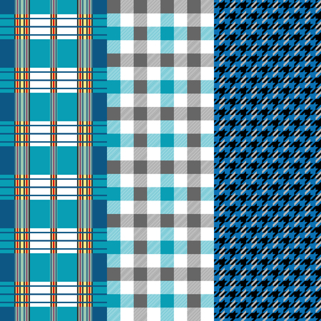Classical English hounds tooth print with stripes. Retro textile design collection.