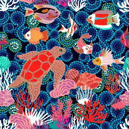 Fishes, tortilla and corals on seaweed background. Marine textile collection. Tropical ocean. Stock Illustratie
