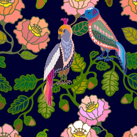 Oriental pattern with Victorian motifs. Blooming summer flowers, leaves and birds. Vintage textile collection.
