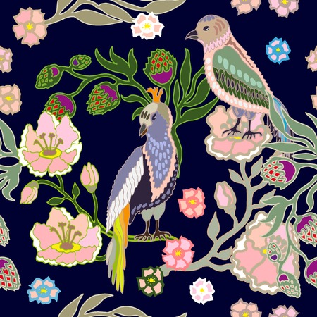 Oriental pattern with Victorian motifs. Blooming summer flowers, leaves and birds. Vintage textile collection. Vector Illustration