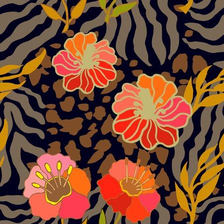 Safari textile collection. Zebra and leopard spots Illustration