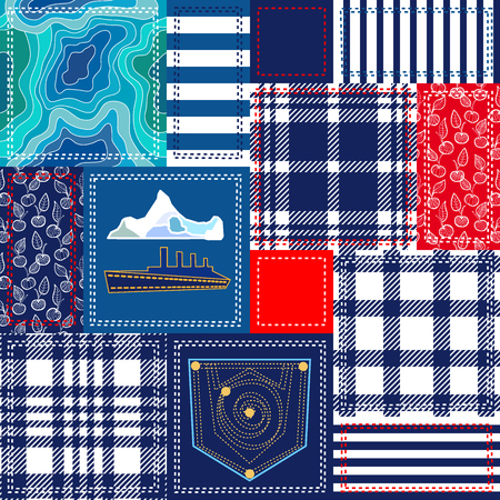 duvet: Set of seamless vector patterns. Checkered fabrics, vintage roses, wild flowers, damask motifs. Retro textile collection.