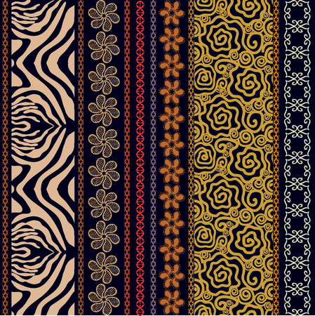 Abstract seamless vector. Ethnic collection. Silver, golden shadows.