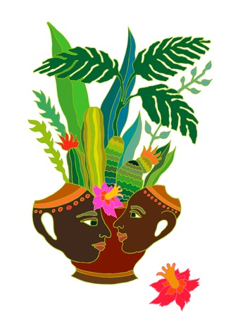Ethnic style ceramic spot with tropical plants and succulents.
