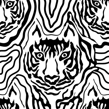 stripped: Seamless vector pattern with hand drawn tiger face and chaotic stripes. Safari textile collection