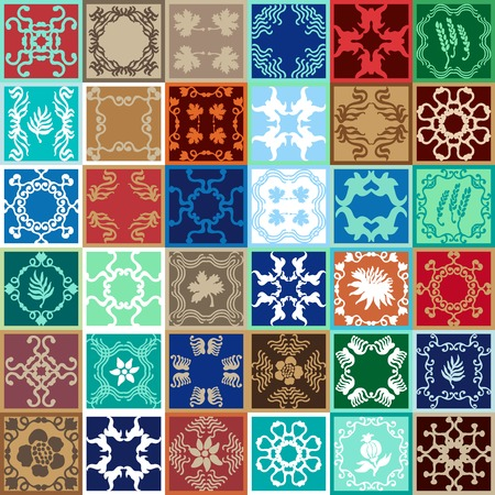 brown pattern: Colorful vintage tiles with Moroccan floral and geometrical patterns. Gradation of blue, brown and beige shadows. Illustration