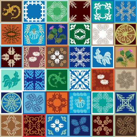Colorful vintage tiles with Moroccan floral and geometrical patterns. Gradation of blue, brown and beige shadows. Illustration
