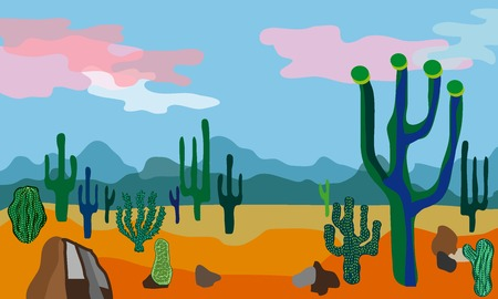 Beautiful scenery with mountains, cacti and cloudy sky.