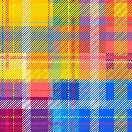 클래식 인도 전통 마드라스 인쇄. 다채로운 체커, 줄무늬. 무지개 색깔. 복고풍 섬유 디자인 컬렉션입니다.