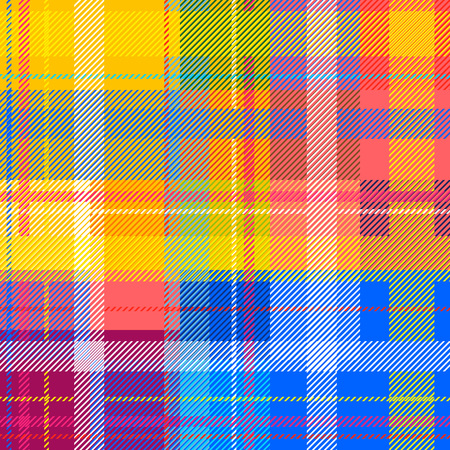 Klassieke traditionele Indiase Madras afdruk. Kleurrijke checkers, strepen. Regenboogkleuren. Retro textiel design collectie.