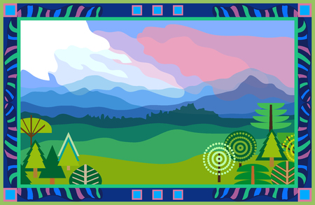 Valley with mountains and cloudy sky. Panoramic view. Illustration