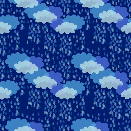 Abstract seamless vector pattern with clouds and rain inspired by children drawings.