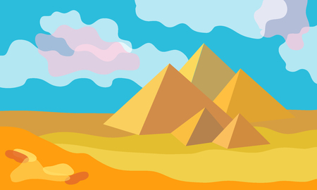 Vector illustration. Beautiful scenery with ancient ruins and cloudy sky.