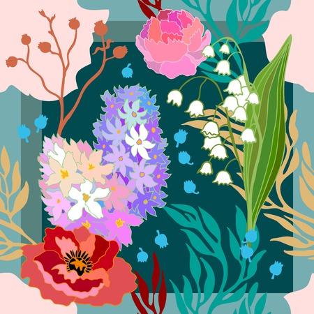 손으로 그린 추상적 인 벡터 패턴 꽃 요소. 1950 년대 -1960 년대 모티프. 복고풍 섬유 디자인 컬렉션입니다. 일러스트