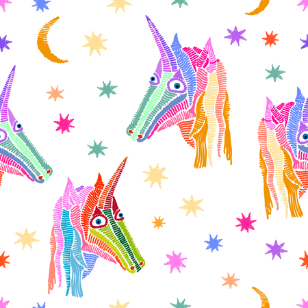 Seamless vector pattern with fantasy motifs and stars.