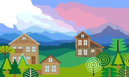 Beautiful scenery with mountains, forest, cloudy sky and chalets. Vector illustration.
