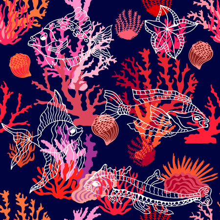 Seamless vector pattern with tropical fishes and corals. Marine textile collection.