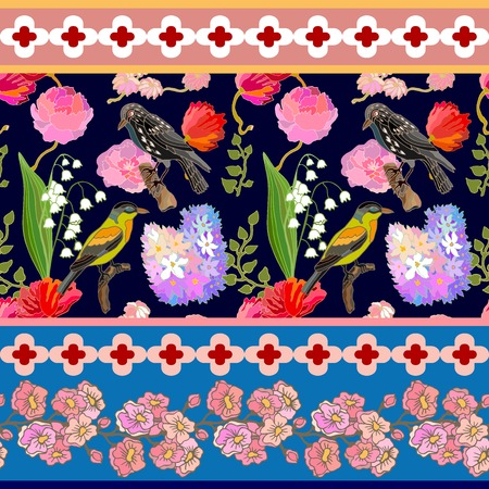 Seamless oriental pattern with Victorian motifs. Blooming summer peonies, lilac and poppies, and birds. Vintage textile collection.