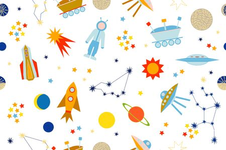moon rover: Seamless vector pattern with sun, moon, planets, astronaut, lunar rover, ships, comet. Children textile collection. Colorful on dark blue.