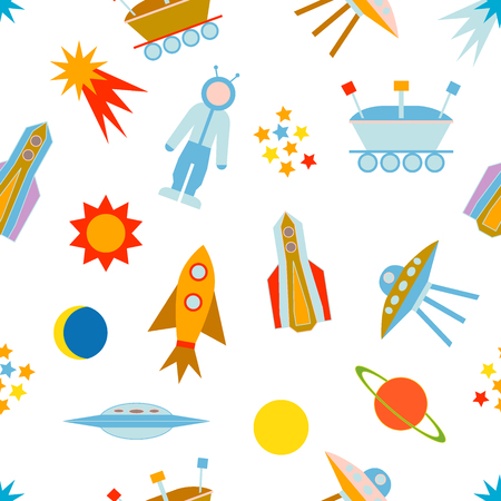 moon rover: Seamless vector pattern with sun, moon, planets, astronaut, lunar rover, ships, comet. Children textile collection. Illustration