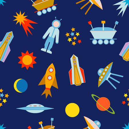 lunar rover: Seamless vector pattern with sun, moon, planets, astronaut, lunar rover, ships, comet. Children textile collection. Illustration