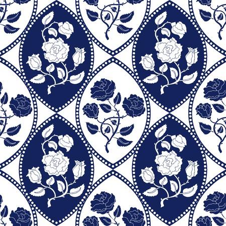 イングリッシュ ローズを開花します。ヴィンテージのテキスタイル コレクションです。ホワイト、ブルー。