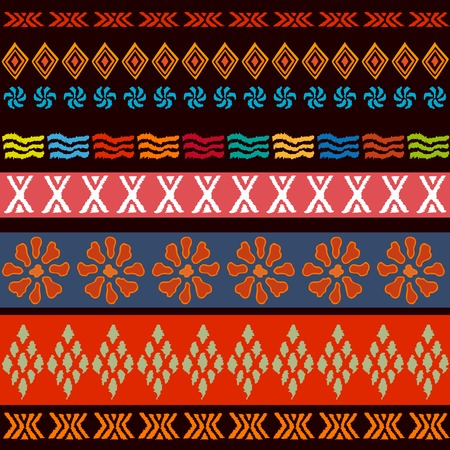Seamless vector pattern with tribal motifs. Ethnic textile collection.