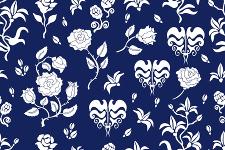 ダマスク織をモチーフにしたシームレスなベクトル パターン。ヴィンテージのテキスタイル コレクションです。青、白。