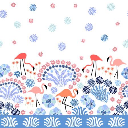 Seamless vector pattern with exotic plants and flowers. Illustration
