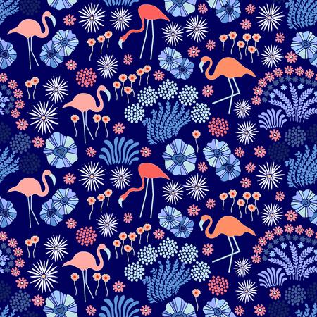 판타지 꽃 야생화와 플라밍고를 인쇄합니다.