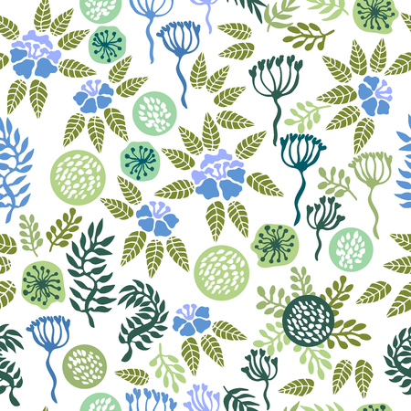 english countryside: Vintage seamless pattern with abstract flowers, branches and grass. Illustration