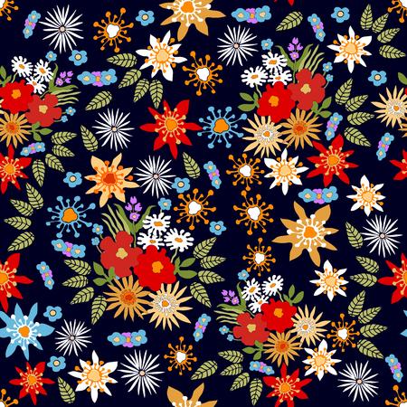 다른 다채로운 야생화와 원활한 벡터 패턴입니다.