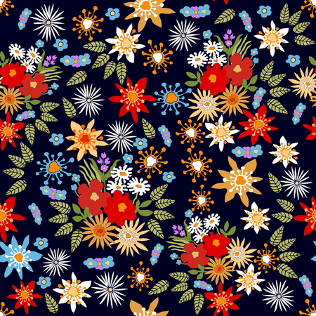 Seamless vector pattern with different colorful wildflowers. Vettoriali