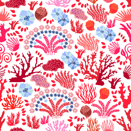 Abstract vector background with corals and floral elements. Ilustrace