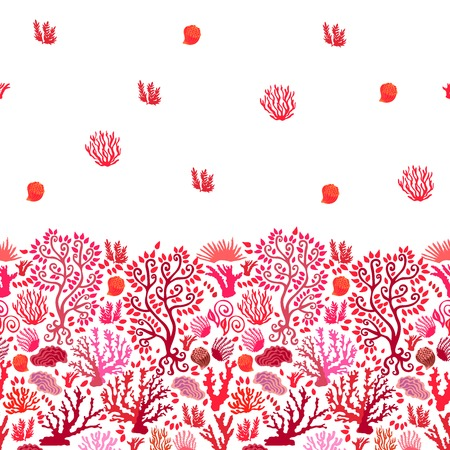 Artsy red and white border floral background