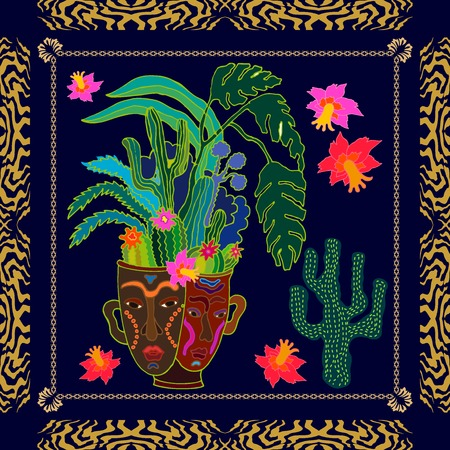 framed: Silk scarf with exotic plants in ceramic pot and zebra print. Ethnic textile collection.
