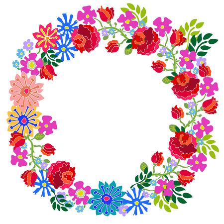 garden cornflowers: Colorful wreath with hand drawn garden flowers.