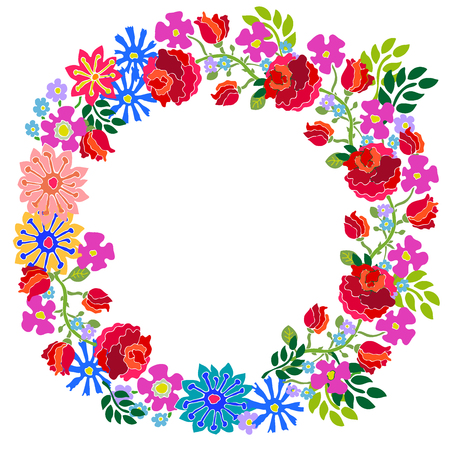Colorful wreath with hand drawn garden flowers.