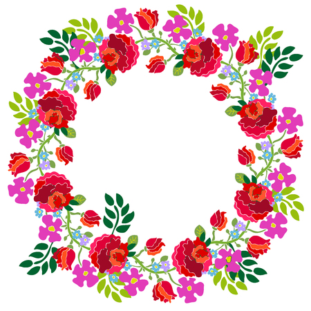 artsy: Colorful wreath with hand drawn garden flowers.