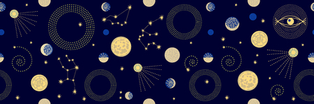 Seamless vector pattern with stars, planets, space ships and constallations.