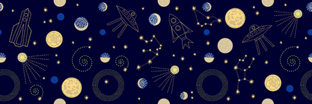 crescent: Seamless vector pattern with stars, planets, space ships and constallations.