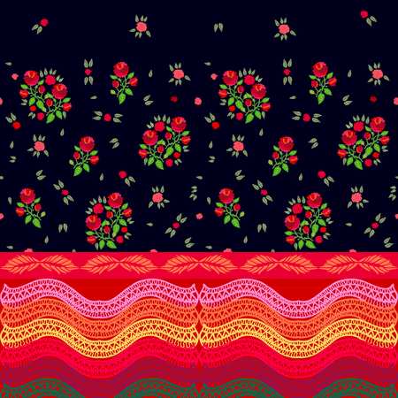 Vintage seamless print with falling bouquets.