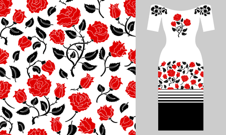 Seamless vector pattern with flowers and stripes elements. Summer textile collection.