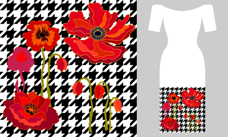 Seamless vector pattern with flowers on hounds tooth background. Summer textile collection.