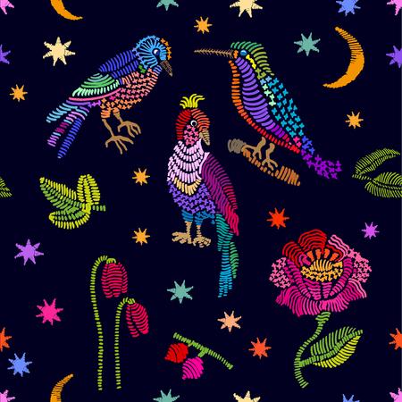 カラフルな刺繍の鳥、葉と花を抽象的なベクトルの背景。レトロなテキスタイル デザインのコレクションです。